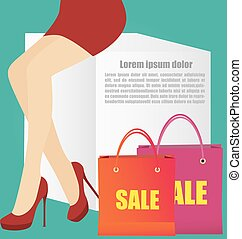 Woman Legs With High Heels Shoes And Copy Space For Text