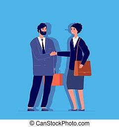 Woman liar. Long nose, business fraud metaphor. Female cheat...
