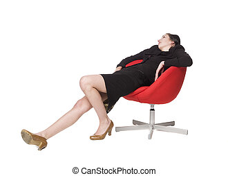 Woman lieing in a chair