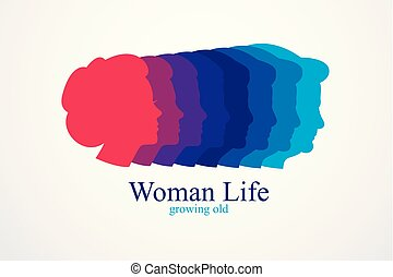 Woman life age years concept, the time of life, periods and...