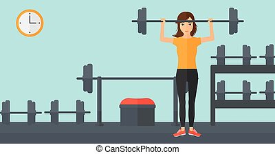Woman lifting barbell.