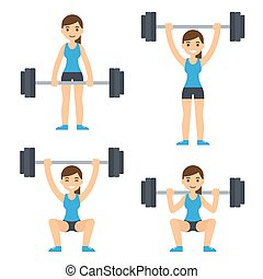 Woman lifting barbell - Cartoon woman barbell training....