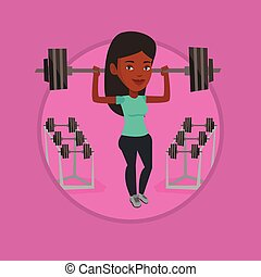 Woman lifting barbell vector illustration.
