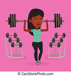 Woman lifting barbell vector illustration.