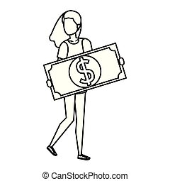 woman lifting bill money dollar character