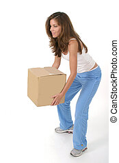 Woman Lifting Box 2 - Beautiful attractive woman squatting...