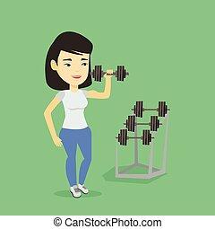 Woman lifting dumbbell vector illustration.