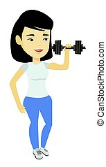 Woman lifting dumbbell vector illustration.
