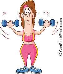 Woman lifting dumbbells - Cartoon woman lifting dumbbells