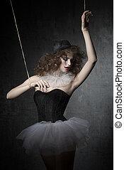 woman like gothic marionette dancer - brunette girl posing ...