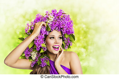 Woman Lilac Flower Hairstyle. Fashion Girl Beauty Face Portrait, Model Makeup Flowers in Hair