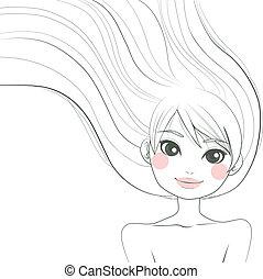 Woman Line Art Illustration - Line art hand drawn...