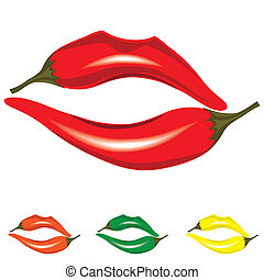 Woman lips as pepper, hot kiss icon objects, vector illustration isolated on white.