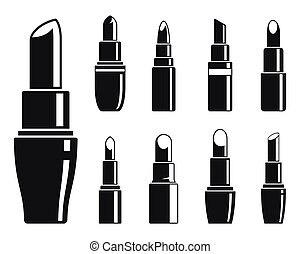 Woman lipstick icons set, simple style