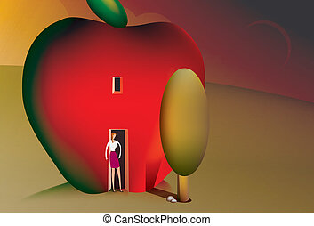 Woman living in an apple house