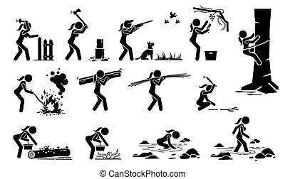 Woman living in traditional lifestyle in the forest or jungle stick figure icons.