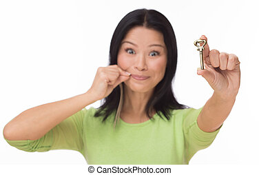 Woman locked mouth with key on white - Asian woman keep ...