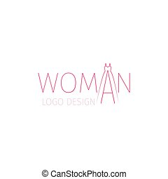 Woman logo with word and dress