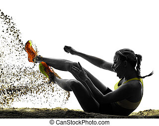 woman long jump isolated silhouette