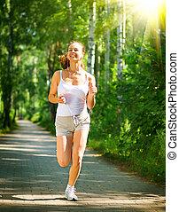 woman., longueur, séance entraînement, portrait, entiers, extérieur, courant, park.