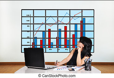 woman looking at chart