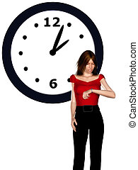 Woman looking at her watch - A stressed woman looking at her...