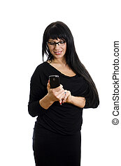 Woman looking at mobile phone. Isolated on white.