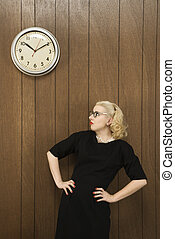 Woman looking at time.
