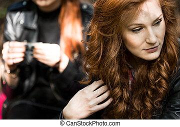 Woman looking away - Beautiful woman looking away and...