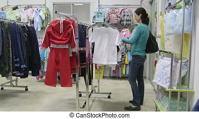 Woman looking for clothes