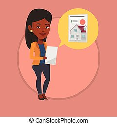 Woman looking for house vector illustration. - African-...