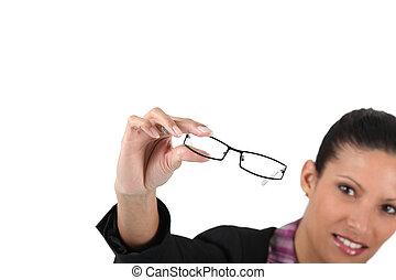 Woman looking glasses