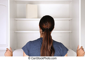 Woman Looking in Empty Pantry - Closeup of a woman looking...