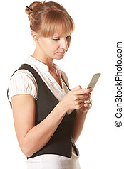 Woman looking into mobile screen