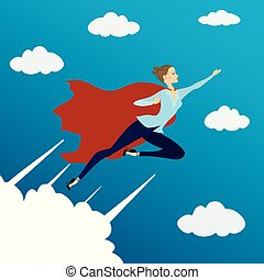 Woman looking like Super hero flying in sky,