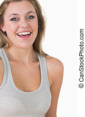 Woman looking natural and laughing