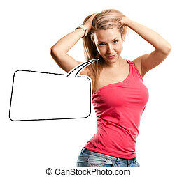 Woman Looking on Camera With Speech Bubble - Woman looking...