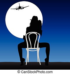 woman looking plane in the moonligh