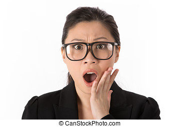 Woman looking shocked. - Asian woman looking shocked and ...