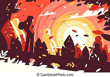 Woman looking sunset autumn landscape background.