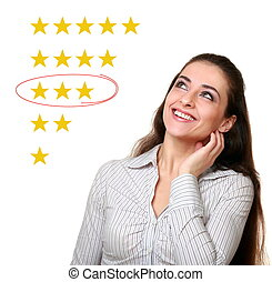Woman looking up and choosing average stars rating. Neutral feedback result