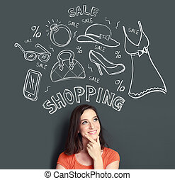 woman looking up thinking of buying or shopping something