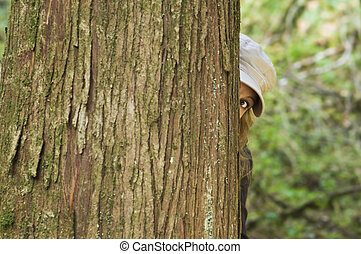 Woman looks around tree