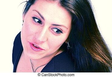 woman looks in amazement