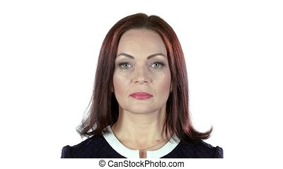 Woman looks into the distance and smiles. White background -...