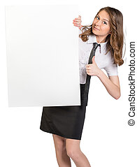 Woman looks out from behind a large blank white poster showing sign thumb-up