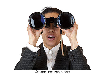 Woman looks through binoculars searching for business. Isolated on white background.