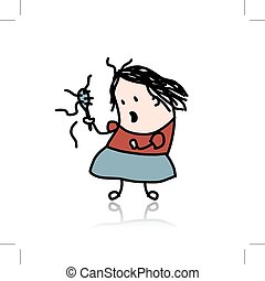 Woman loses hair, cartoon for your design