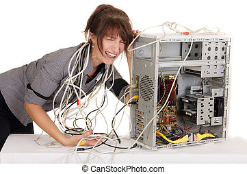 woman lost in computer  technology