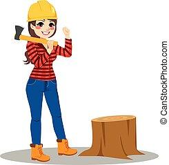 Woman lumberjack